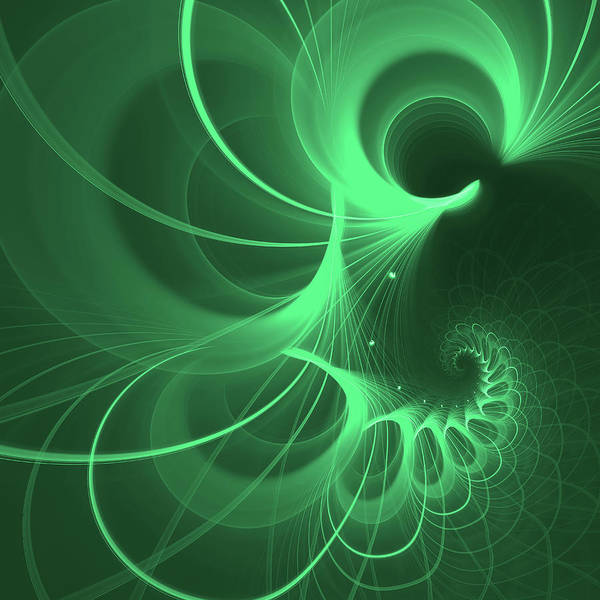 Mariia Kalinichenko Poster featuring the digital art Spiral Thoughts Green by Mariia Kalinichenko