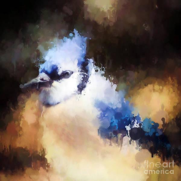 Blue Jay Poster featuring the photograph Splatter Art - Blue Jay by Kerri Farley
