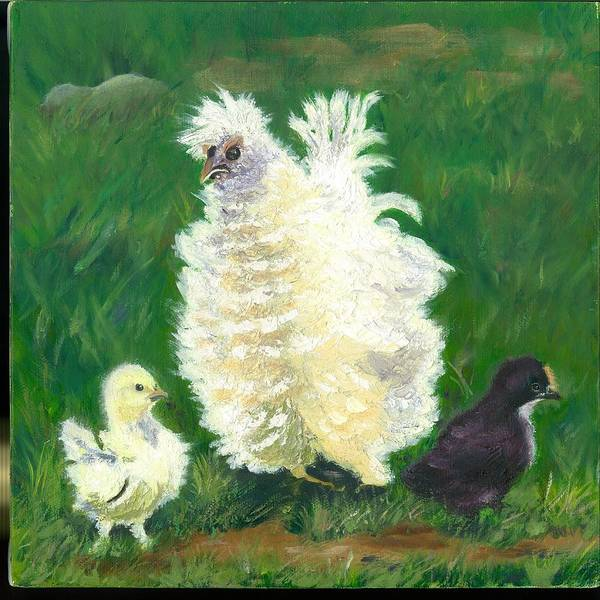 Bantam Frizzle Farmscene Chickens Hen Bird Nature Animals Spring Freerangers Poster featuring the painting Squiggle by Paula Emery