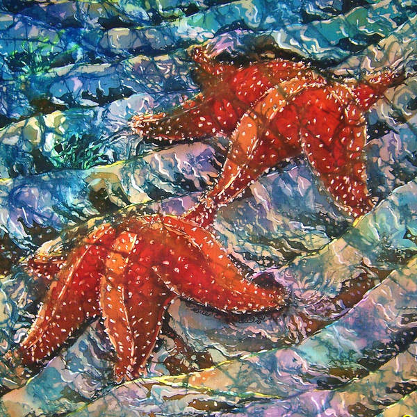 Starfish Poster featuring the painting Starfish 1 by Sue Duda
