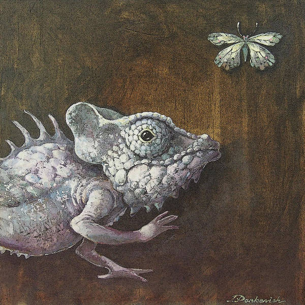 Lizard Poster featuring the painting Steampunk Reptile #2 by Irina Pankevich