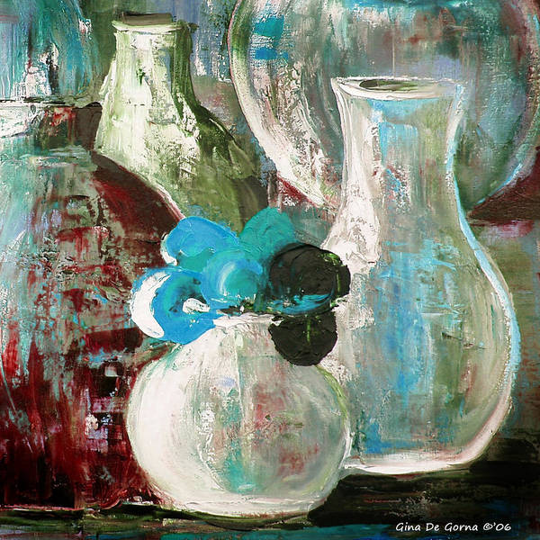 Still Life Poster featuring the painting Still Life With A Blue Flower by Gina De Gorna