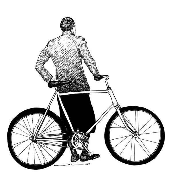 Drawing Poster featuring the drawing Stranger With Bike by Karl Addison