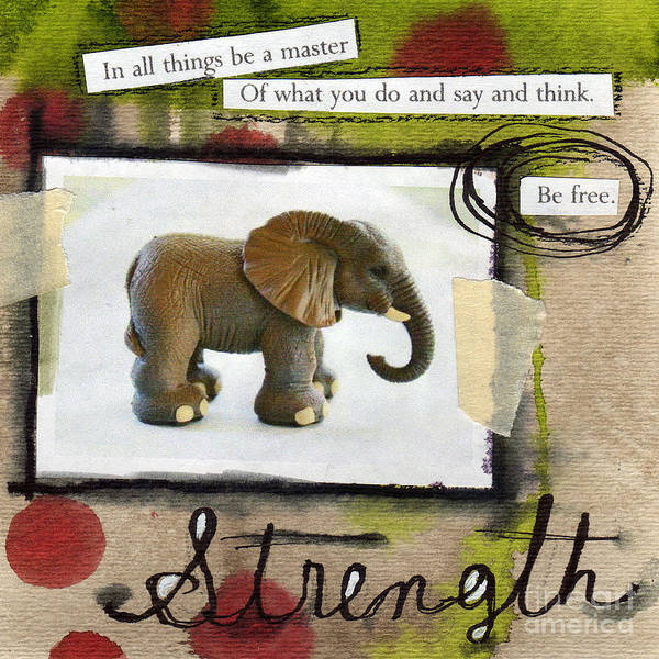 Elephant Poster featuring the mixed media Strength by Linda Woods