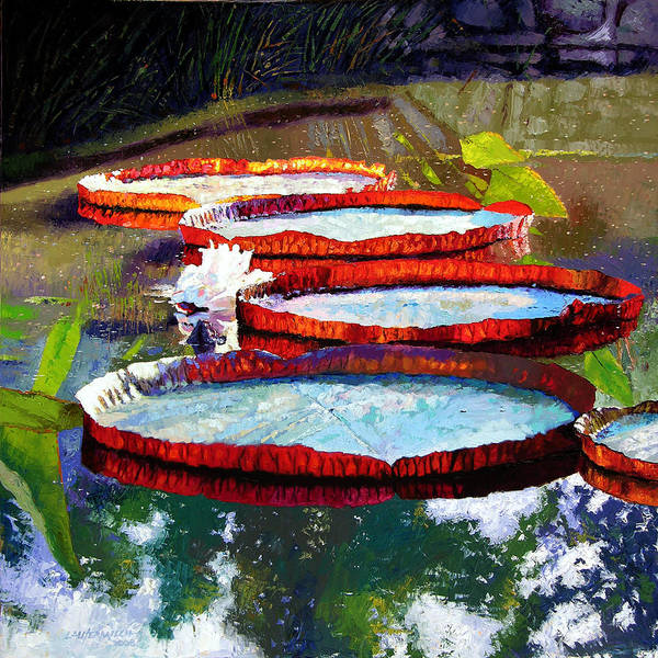 Water Lilies Poster featuring the painting Summer Sunlight On Lily Pads by John Lautermilch