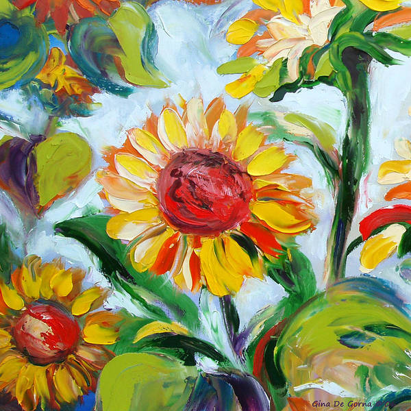 Flowers Poster featuring the painting Sunflowers 6 by Gina De Gorna