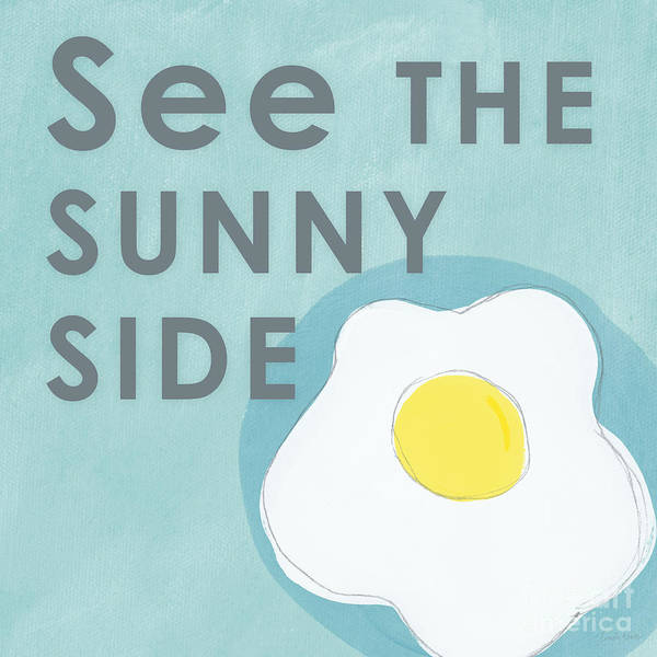 Egg Poster featuring the mixed media Sunny Side by Linda Woods