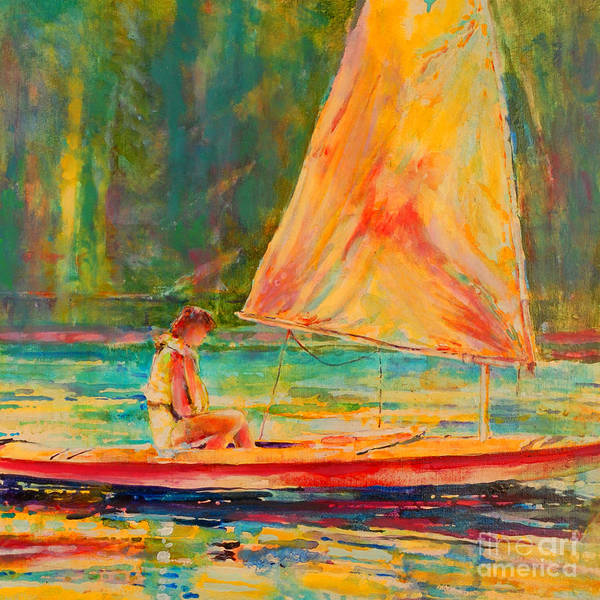 Sunfish Poster featuring the painting Sunset Sailor 2 by Kip Decker