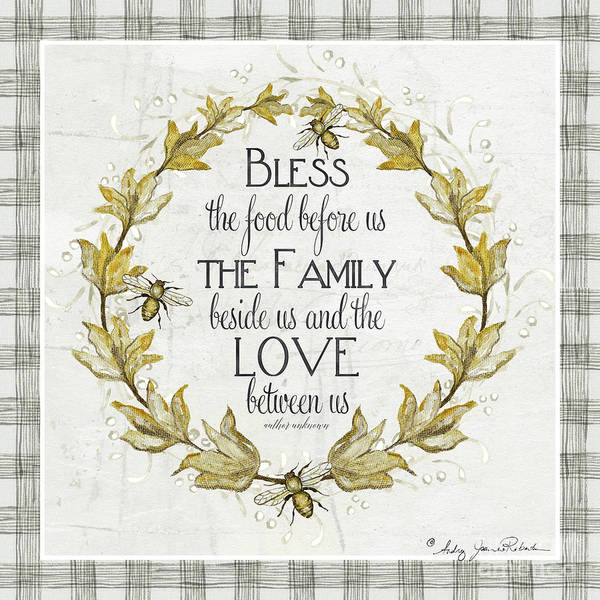 Bless The Food Poster featuring the painting Sweet Life Farmhouse 4 Laurel Leaf Wreath Bee Bless This Food by Audrey Jeanne Roberts