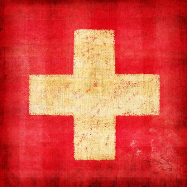 Abstract Poster featuring the photograph Switzerland Flag by Setsiri Silapasuwanchai