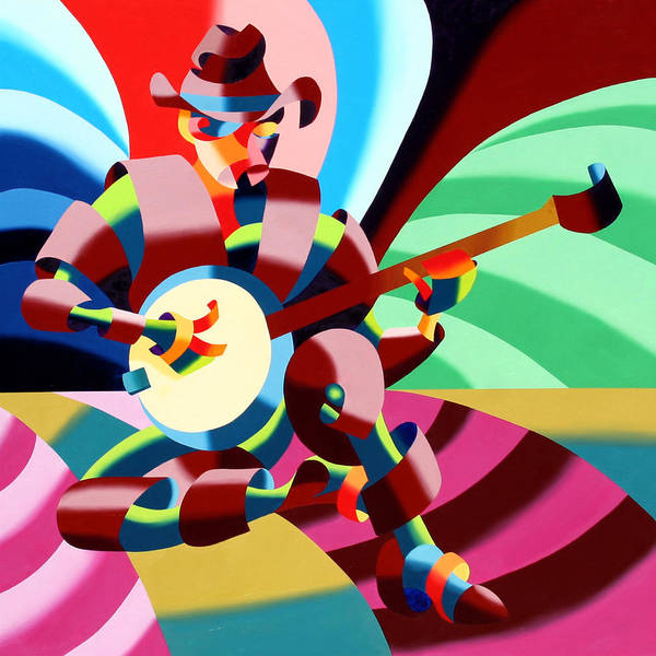 Abstract Poster featuring the painting The Abstract Futurist Cowboy Banjo Player by Mark Webster