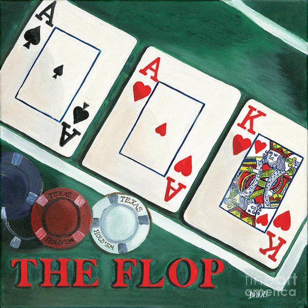 Texas Hold Em Poster featuring the painting The Flop by Debbie DeWitt