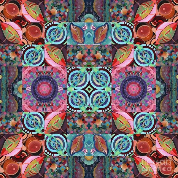 Abstract Art Poster featuring the painting The Joy Of Design Mandala Series Puzzle 7 Arrangement 1 by Helena Tiainen