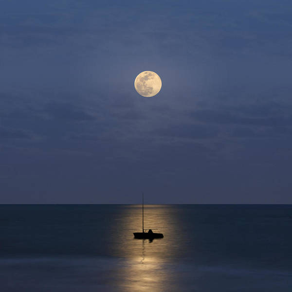 Square Poster featuring the photograph The Moon Guide Us by Carlos Gotay