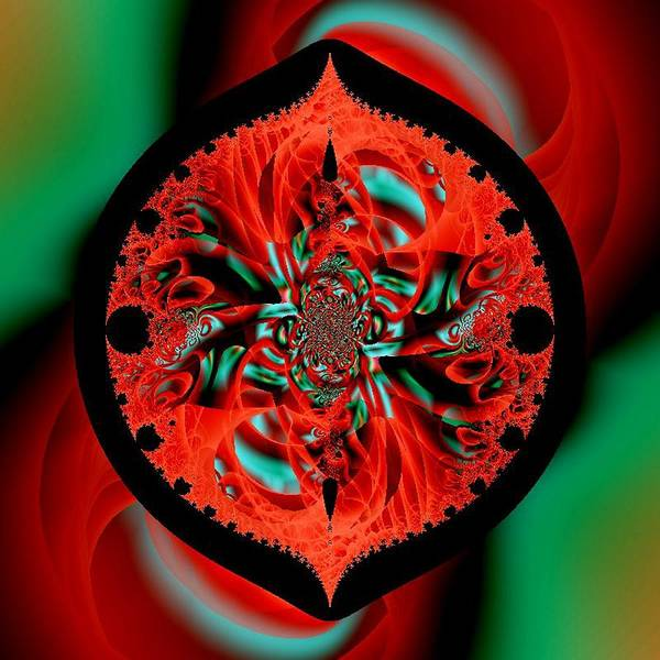 Red Orange Teal Swirl Intricate Poster featuring the digital art The Portal by Michael Hickey