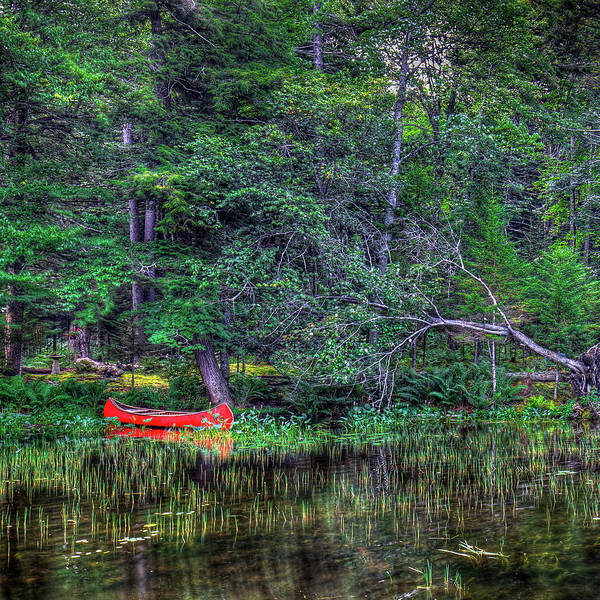 The Red Canoe Poster featuring the photograph The Red Canoe by David Patterson