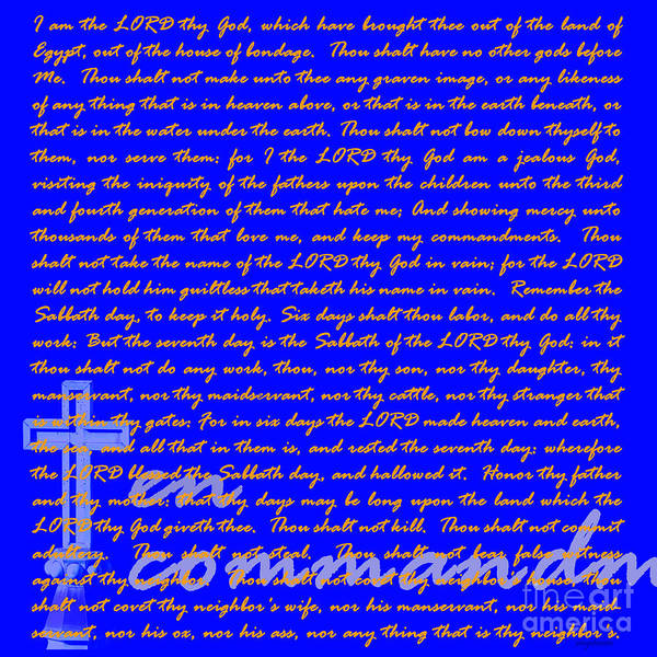 Cross Poster featuring the photograph The Ten Commandments 20130213blue by Wingsdomain Art and Photography