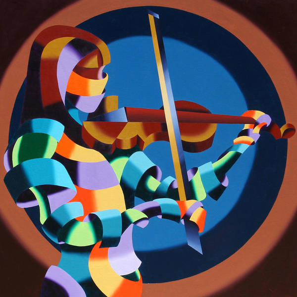 Abstract Figurative Poster featuring the painting The Violinist by Mark Webster