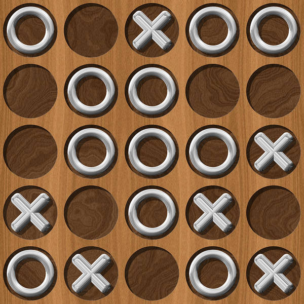 Tic Poster featuring the digital art Tic Tac Toe Wooden Board Generated Seamless Texture by Miroslav Nemecek