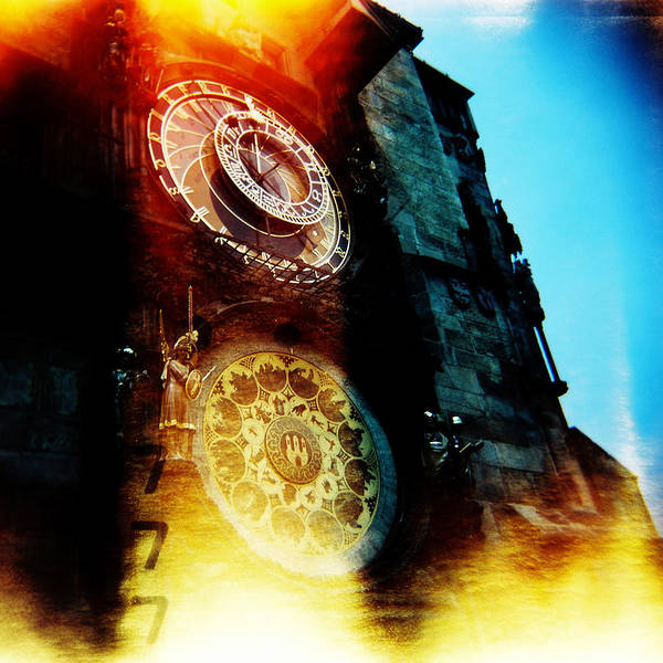 Clock Time Holga Color Photograph Praha Poster featuring the photograph Time Is Burning by Olivier De Rycke