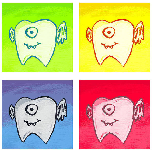 Tooth Fairy Children's Friend Warhol Pop Art Primary Colors Painting Winged Tooth One Eye Cyclops Cute Adorable Character Portrait Creature Fun Fantasy Exciting Buck Toothed Surprise Poster featuring the painting Tooth Fairies by Jera Sky