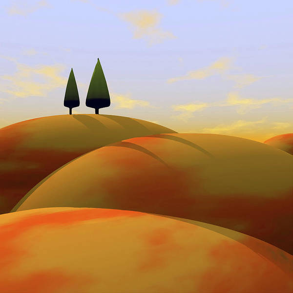 Hills Poster featuring the digital art Toscana 1 by Cynthia Decker