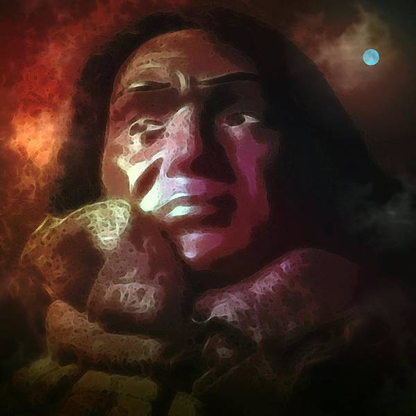 Native American Portrait Wistful Remembering Brown Maroon Face Moon Susan Epps Oliver Original Poster featuring the digital art Trail Of Tears by Susan Epps Oliver