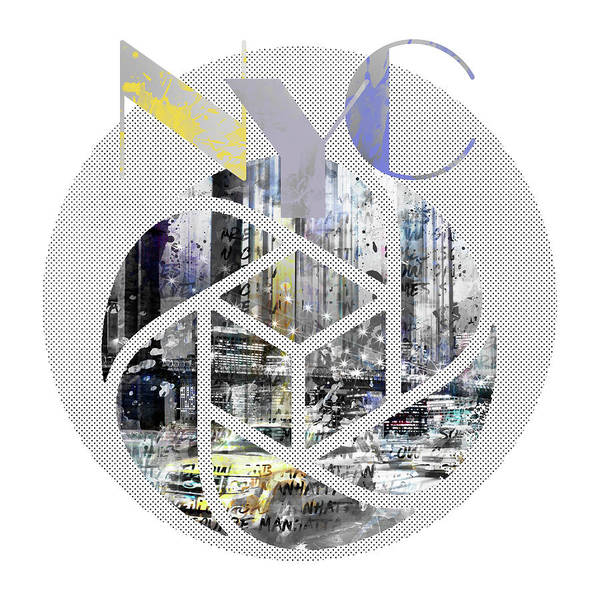 New York City Poster featuring the digital art Trendy Design New York City Geometric Mix No 4 by Melanie Viola