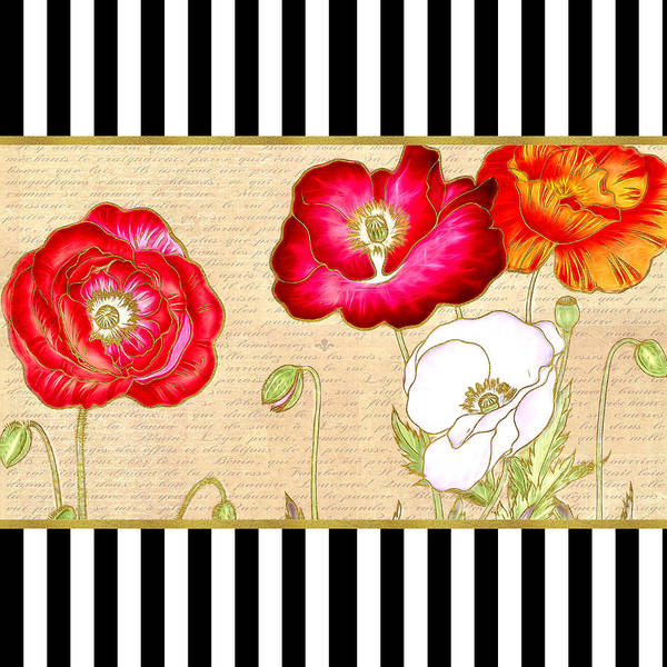 Red Poppies Poster featuring the digital art Trendy Red Poppy Floral Black And White Stripes by Tracie Kaska
