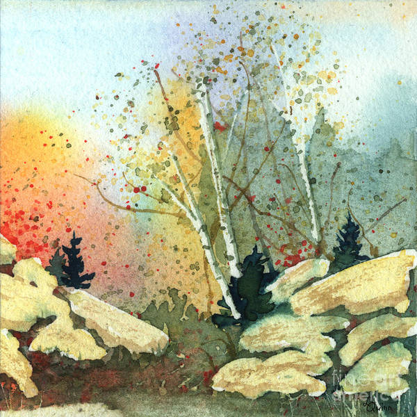 Landscape Poster featuring the painting Triptych Panel 3 by Lynn Quinn