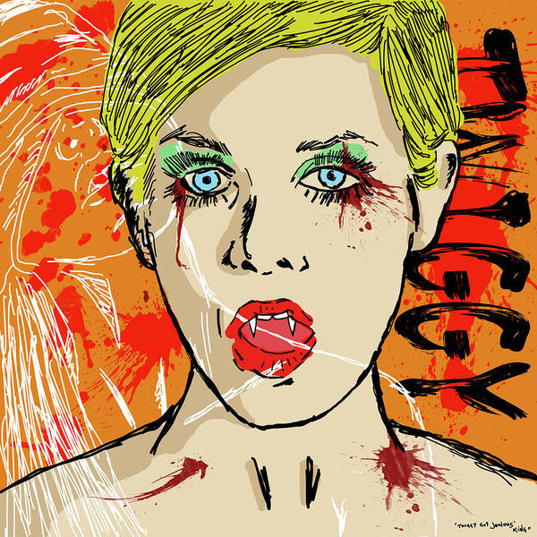 Portrait Poster featuring the drawing Twiggy Got Jealous by Sean King