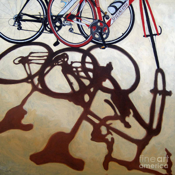 Two Bicycles Poster featuring the painting Two Bicycles by Linda Apple