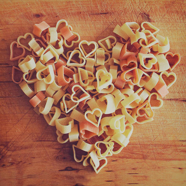 Square Poster featuring the photograph Uncooked Heart-shaped Pasta by Julia Davila-Lampe