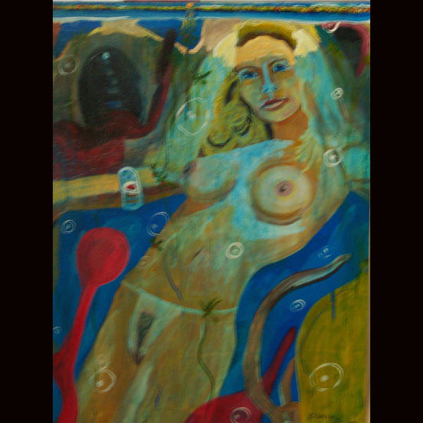 Nude Poster featuring the painting Underwater by Dominic Angarano