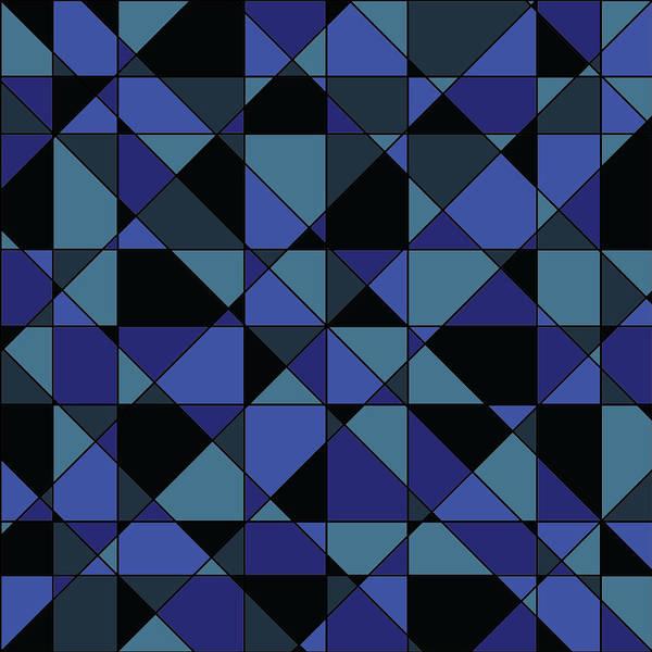 Modern Poster featuring the digital art Unique Bold Hip Blue Cyan Grey Black Geometric Pattern by Shelley Neff