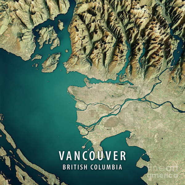 Vancouver 3d render satellite view topographic map poster by frank vancouver poster featuring the digital art vancouver 3d render satellite view topographic map by frank ramspott gumiabroncs Gallery
