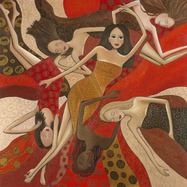 Female Poster featuring the painting Vermilion Dream by Denise Daffara