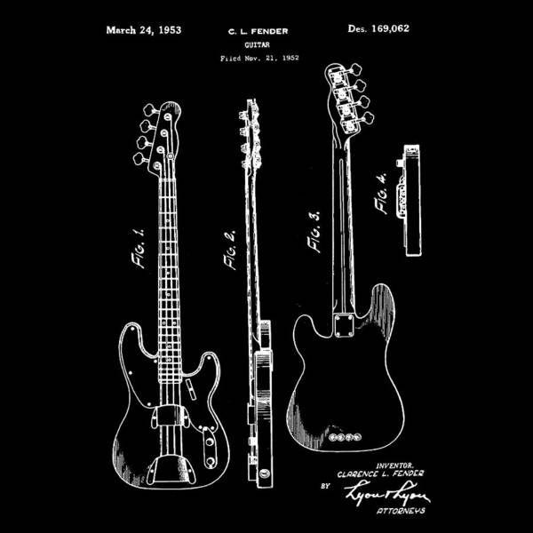 Vintage Poster featuring the photograph Vintage 1953 Fender Base Patent by Bill Cannon