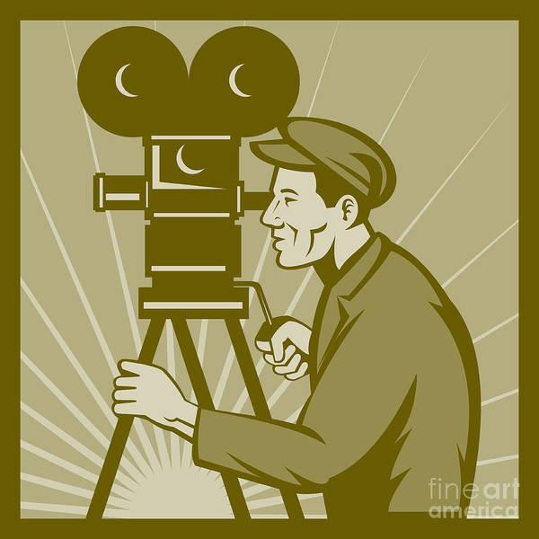 Camera Poster featuring the digital art Vintage Film Camera Director by Aloysius Patrimonio
