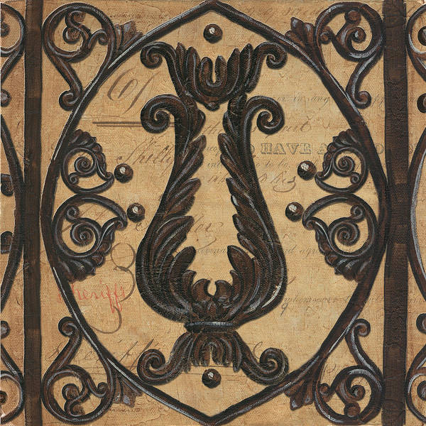 Iron Poster featuring the painting Vintage Iron Scroll Gate 2 by Debbie DeWitt