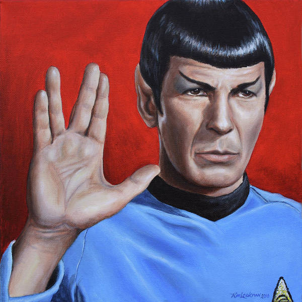 Leonard Nimoy Poster featuring the painting Vulcan Farewell by Kim Lockman