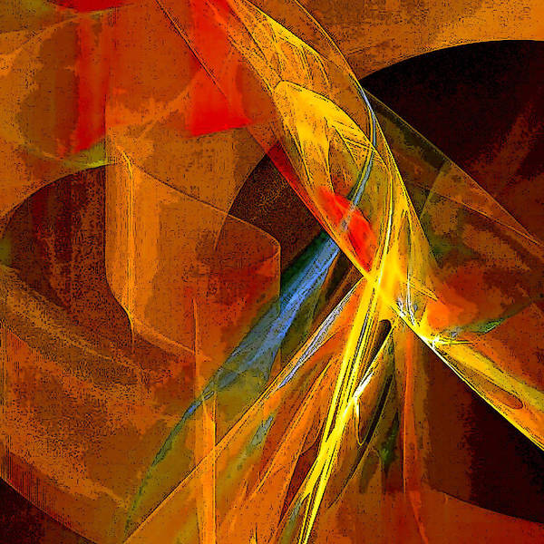 Abstract Poster featuring the digital art When Paths Cross by Ruth Palmer