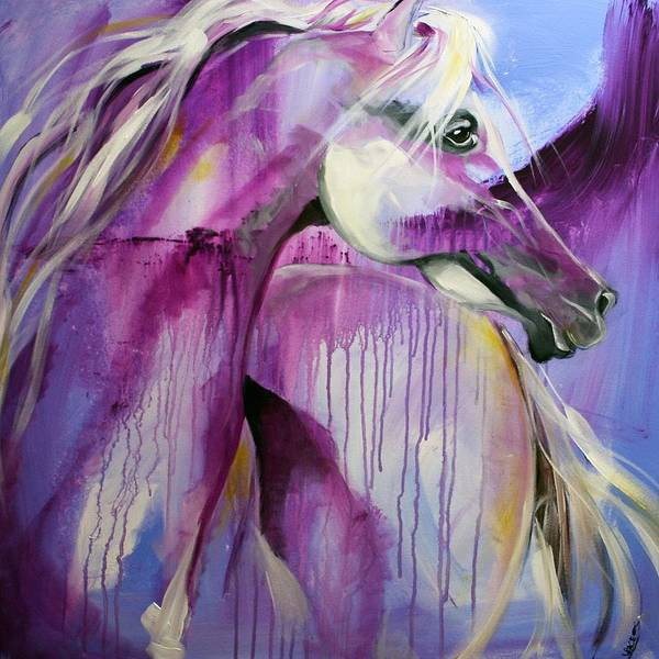 Horse Paintings Poster featuring the painting White Arabian Nights by Laurie Pace
