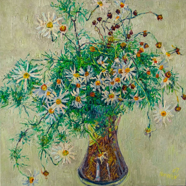 Flower Poster featuring the painting Wild Camomile by Vitali Komarov
