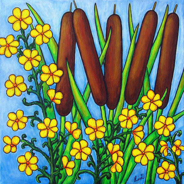 Cat Tails Poster featuring the painting Wild Medley by Lisa Lorenz