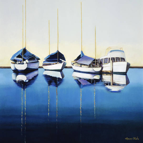 Art Poster featuring the painting Yacht Harbor by Han Choi - Printscapes