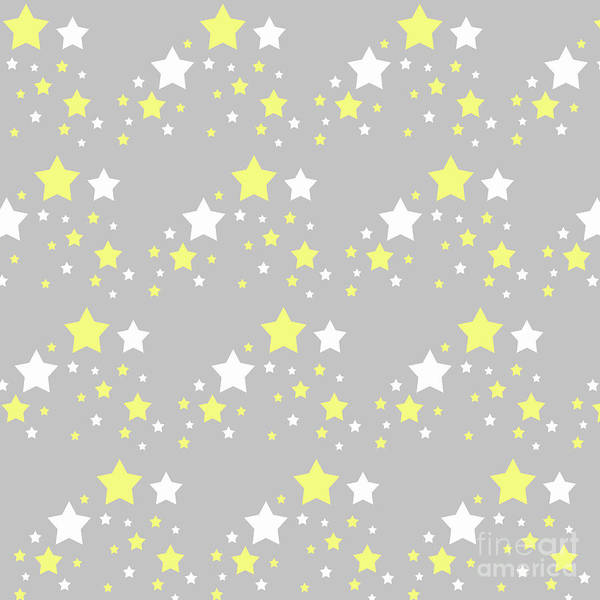 Yellow Poster featuring the digital art Yellow And White Stars On Grey Gray by Laura DeCamp