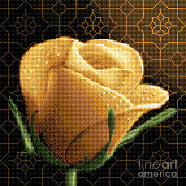 Yellow Rose Flower Needlework Design Cross Stitch Gobelin Poster featuring the tapestry - textile Your Rose by Stoyanka Ivanova