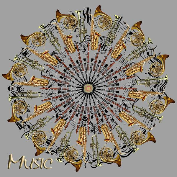 Musical Instruments Poster featuring the digital art Zeerkl Of Music by Edelberto Cabrera