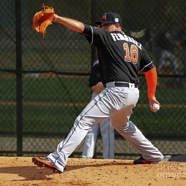 People Poster featuring the photograph Miami Marlins Workout by Rob Foldy
